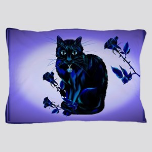Very Black Cat And Roses Pillow Case
