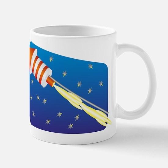 Orange & White Fireworks Rocket Mugs