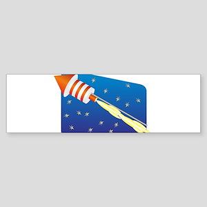 Orange & White Fireworks Rocket Bumper Sticker