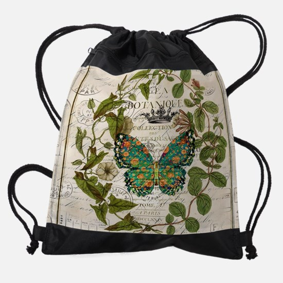 french botanical art butterfly Drawstring Bag