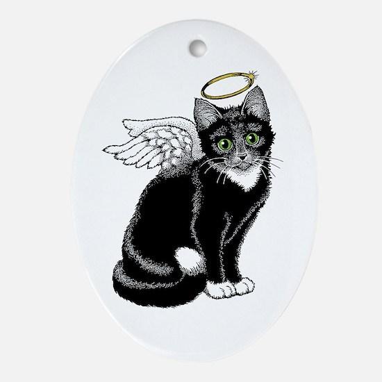 Angel Kitten Oval Ornament