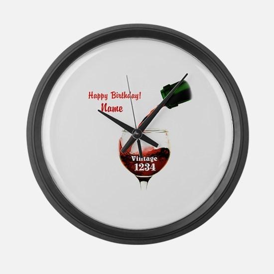 Custom Vintage Wine Large Wall Clock