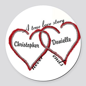 A true love story: personalize Round Car Magnet