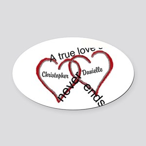 A True Love Story Personalize Oval Car Magnet