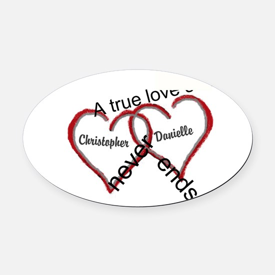 A true love story: personalize Oval Car Magnet