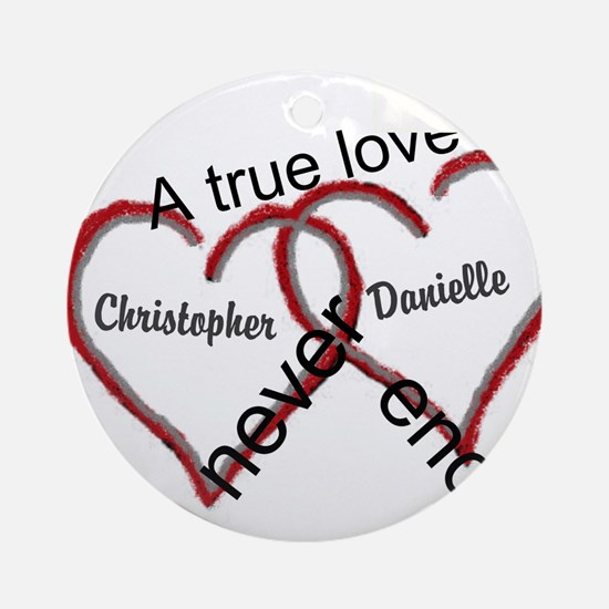 A true love story: personalize Round Ornament