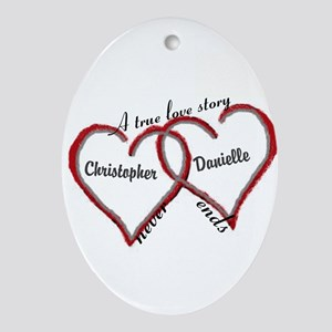 A true love story: personalize Oval Ornament