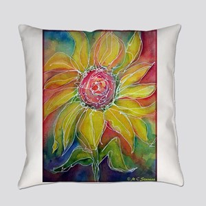 Sunflower! Bright, flower art! Everyday Pillow