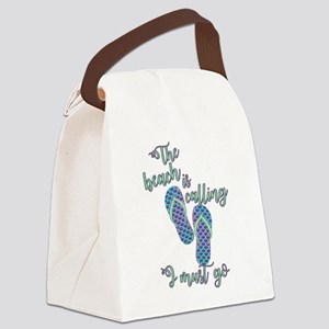 the beach is calling with mermaid Canvas Lunch Bag
