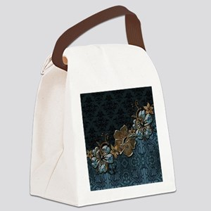 Blue vintage design with flowers Canvas Lunch Bag