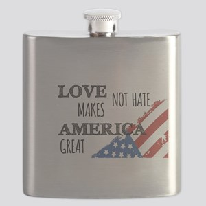 Love Not Hate Makes America Great Flask
