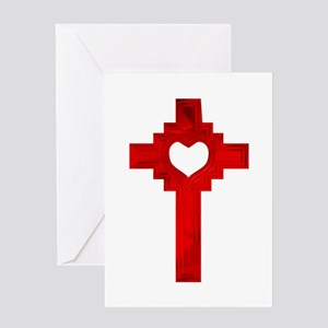 Ruby Red Heart Cross - Greeting Card