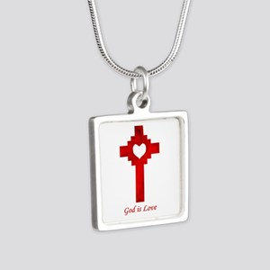 God Is Love - Silver Square Necklace
