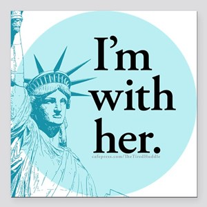 "I'm With Her - L Square Car Magnet 3"" X 3"