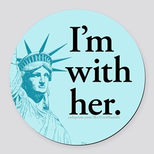 I'm With Her - L Round Car Magnet
