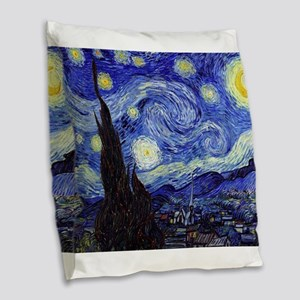 Starry Night by Vincent van Go Burlap Throw Pillow