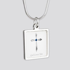God Loves You - Silver Square Necklace