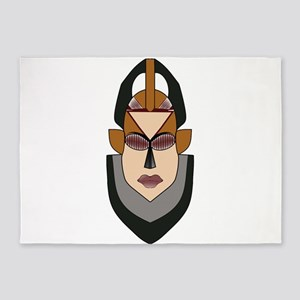 Strong Male African Warrior Mask 5'x7'Area Rug