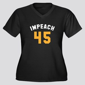 Impeach 45 Women's Plus Size V-Neck Dark T-Shirt