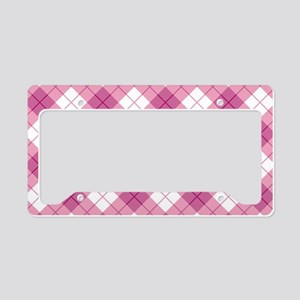Pink Plaid License Plate Holder