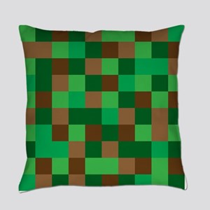 Green Pixelated Design Everyday Pillow