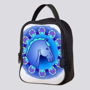 BLUE HORSE AND HORSESHOES Neoprene Lunch Bag