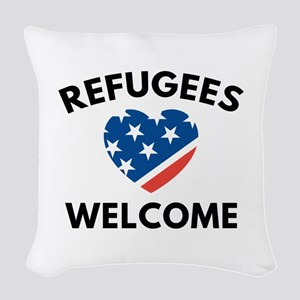 Refugees Welcome Woven Throw Pillow