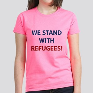 We Stand With Refugees Women's Dark T-Shirt