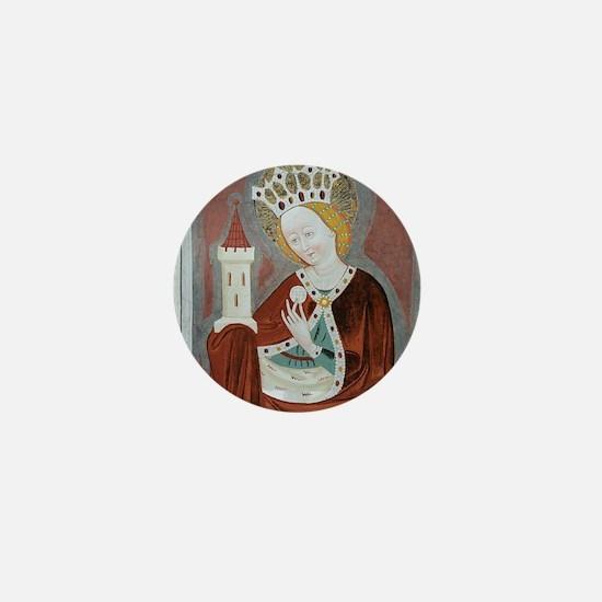 Saint Barbara 15th Century fresco Mini Button