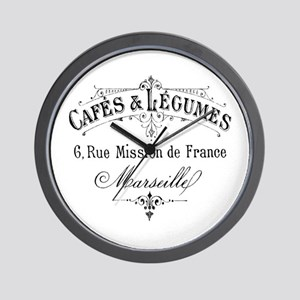 French Typography Paris Cafe Wall Clock