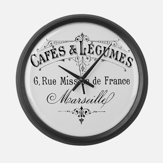 French Typography Paris Cafe Large Wall Clock