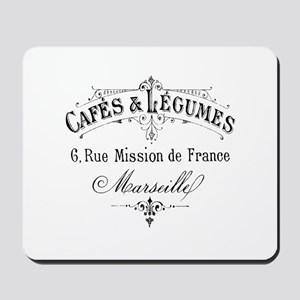 French Typography Paris Cafe Mousepad