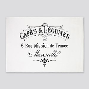French Typography Paris Cafe 5'x7'Area Rug