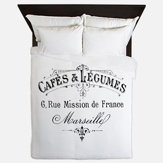 French Typography Paris Cafe Queen Duvet