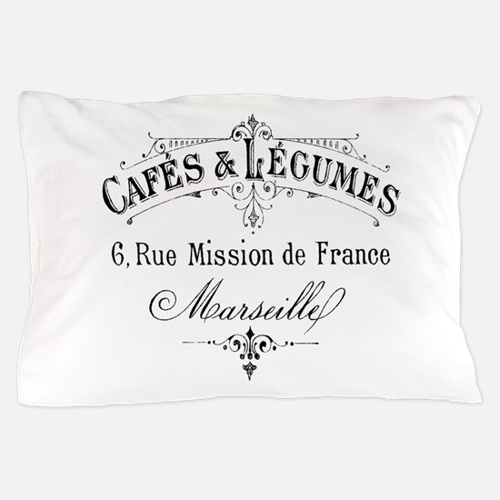 French Typography Paris Cafe Pillow Case