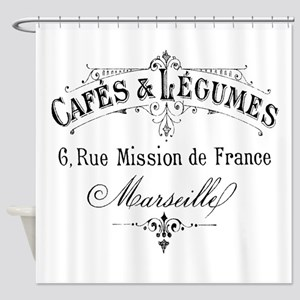 French Typography Paris Cafe Shower Curtain