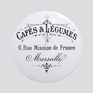 French Typography Paris Cafe Round Ornament