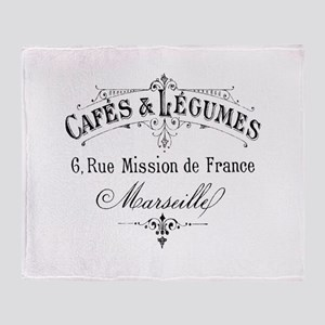 French Typography Paris Cafe Throw Blanket