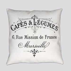 French Typography Paris Cafe Everyday Pillow