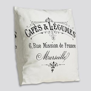 French Typography Paris Cafe Burlap Throw Pillow