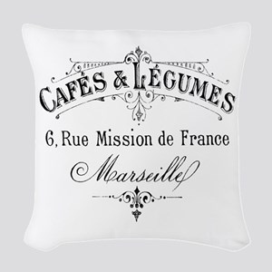 French Typography Paris Cafe Woven Throw Pillow