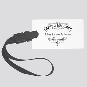 French Typography Paris Cafe Large Luggage Tag