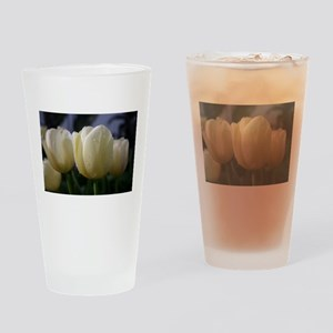 Dewy, White Tulips Drinking Glass