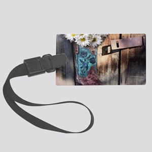 rustic daisy western country cow Large Luggage Tag