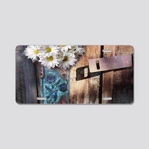 rustic daisy western countr Aluminum License Plate