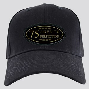 Fancy 75th Birthday Black Cap