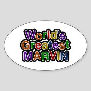 World's Greatest Marvin Oval Sticker