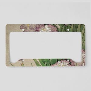 vintage botanical iris flower License Plate Holder