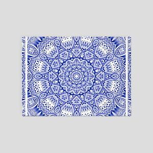 Blue Mediterranean Tile Pattern 5'x7'Area Rug