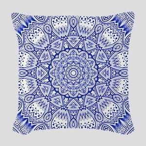 Blue Mediterranean Tile Patter Woven Throw Pillow